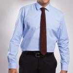 Chemise confort coton Prince de Galles col semi-italien