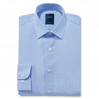 Chemise droite coton Prince de Galles col semi-italien