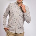 Chemise tweed droite imprimé oiseau col boutonnage caché