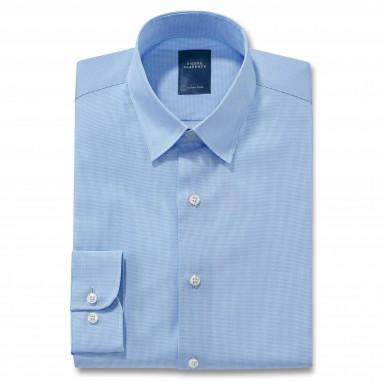 Chemise droite coton carreaux col boutonnage caché