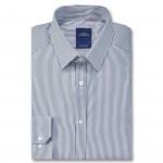 Chemise droite rayée blanc col semi-italien