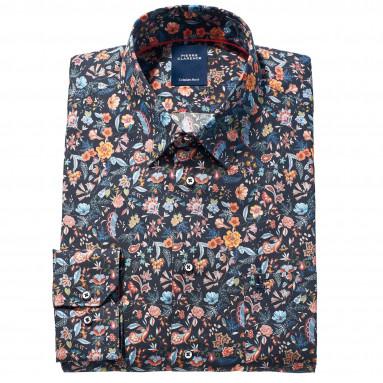 Chemise droite velours imprimé fleurs col boutonnage caché