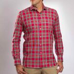 Chemise confort coton carreaux col semi-italien