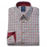Chemise droite coton carreaux col contrasté bordeaux