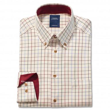 Chemise droite coton grands carreaux col boutonné