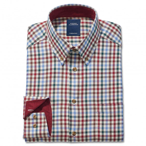 Chemise droite coton carreaux anglais col boutonné